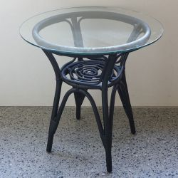 ラタン サイドテーブル ブラック